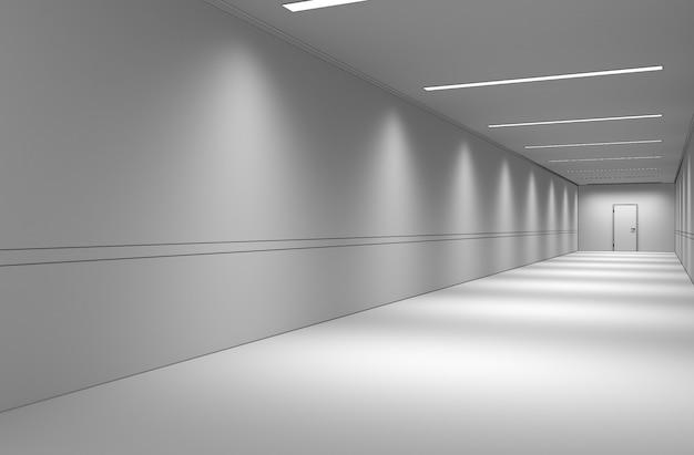 Long corridor interior visualization 3d illustration