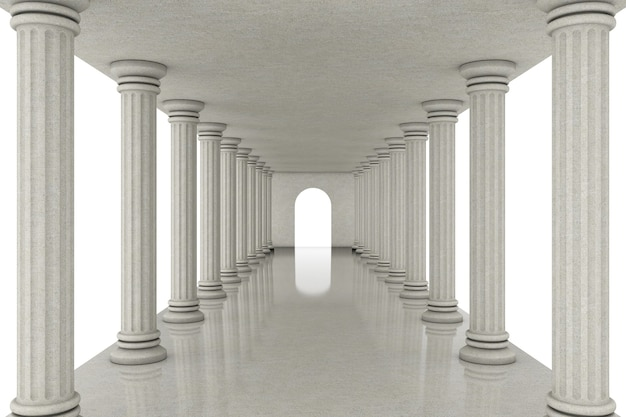 白い背景の上の古典的な柱の間の長い廊下トンネル。 3dレンダリング
