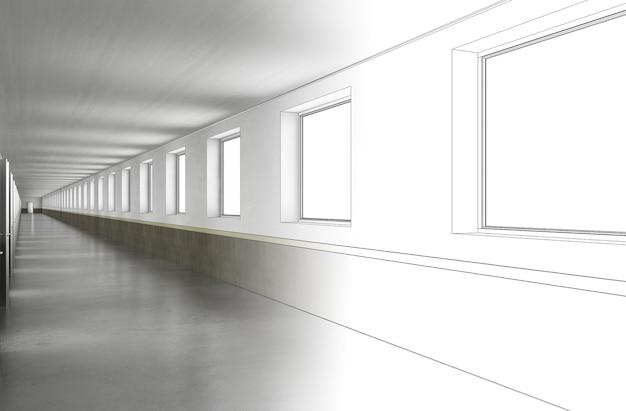 Long corridor with doors interior visualization 3d illustration