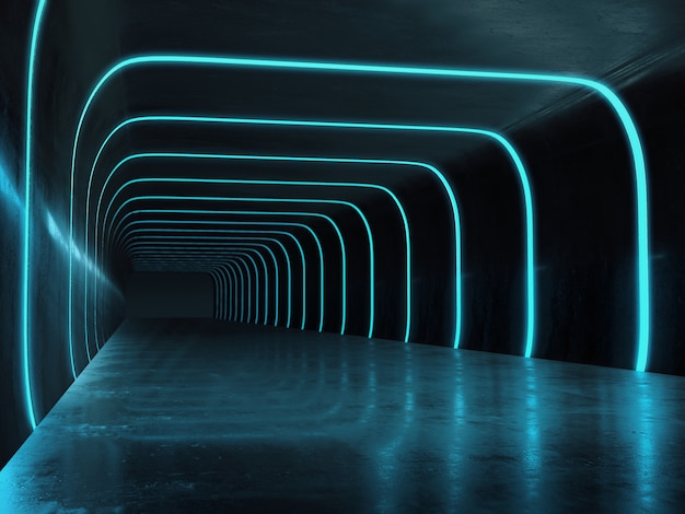 Long dark corridor interior with futuristic light.
