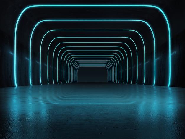 ライトが光る長い暗いトンネル構造