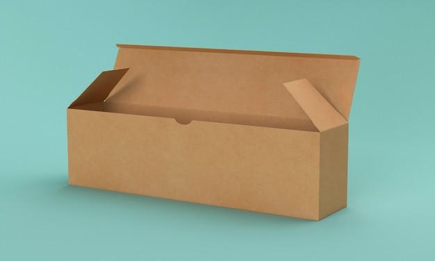 긴 빈 갈색 골 판지 상자