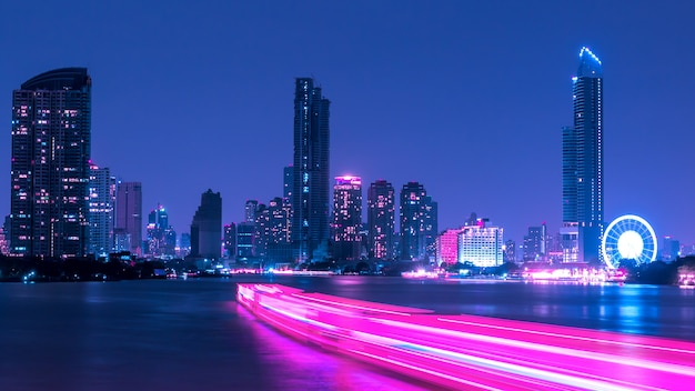 Long exposure,atmosphere of bangkok at chao phraya river at night