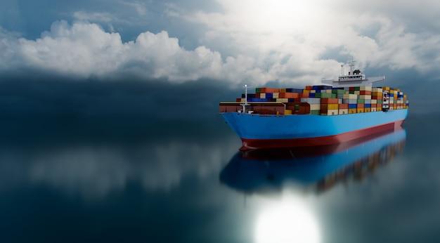 Международные грузовые перевозки контейнеров и коммерческая логистика с большой выдержкой, рендеринг 3d иллюстраций