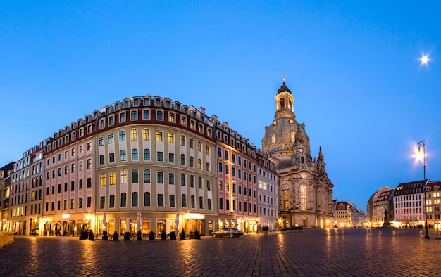 Long exposure of the neumarkt square and frauenkirche (church of our lady) in dresden on clear night, city square. historic architecture buildings in germany.