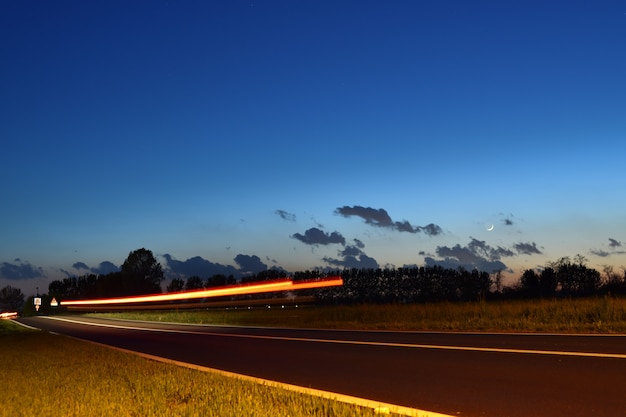 Long exposure shot of the wakes of the cars