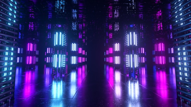 A long futuristic corridor with a technological interior. neon light moving rapidly from the end of the tunnel. sci fi room. seamless loop 3d animation