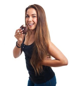 Long hair girl with bagel