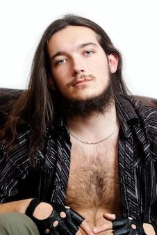 긴 머리, 수염 난 남자