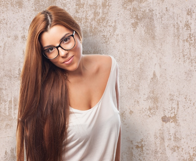 Long haired beautiful girl in glasses