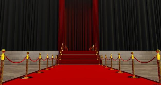 入り口のロープバリアの間の長いレッドカーペット。レッドカーペットで成功する方法。栄光への道。階段が上がる