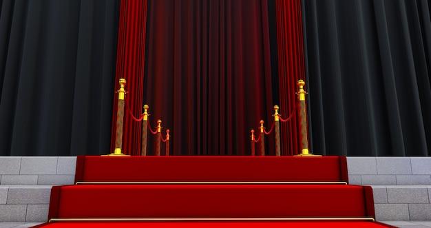 Длинная красная ковровая дорожка между веревочными заграждениями на входе. путь к успеху на красной дорожке. путь к славе. лестница поднимается
