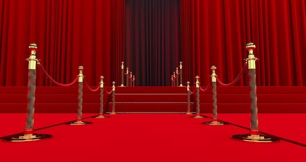 Длинная красная ковровая дорожка между веревочными заграждениями на входе.