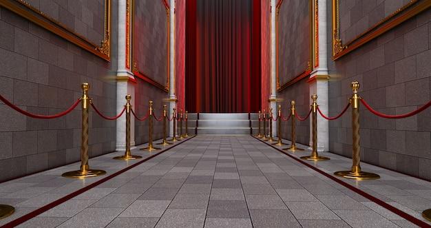 입구의 로프 장벽 사이에 긴 레드 카펫.