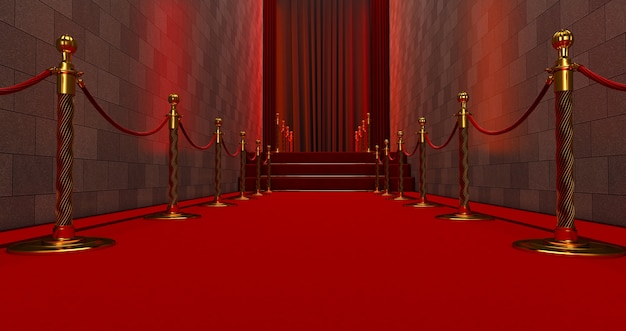 Long red carpet between rope barriers on entrance. way to success on the red carpet. the path to glory. stairway go up
