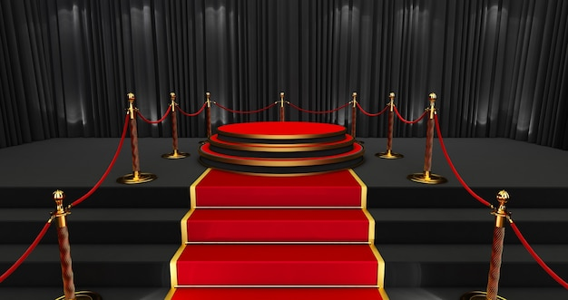 Long red carpet between rope barriers, realistic red carpet and pedestal.