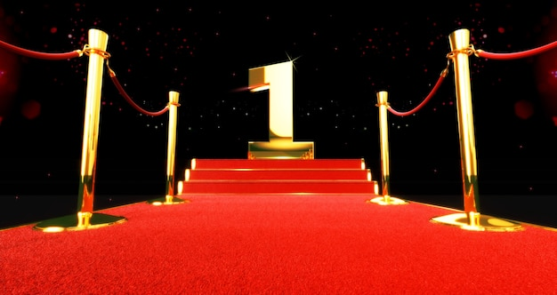 Long red carpet between rope barriers with number one on the stair at the end. the first.