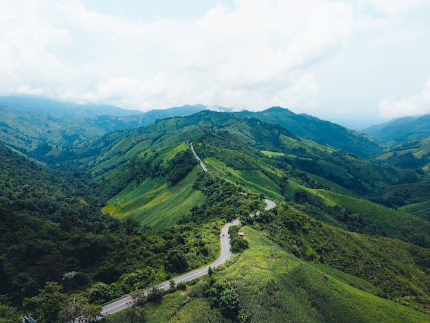 Long road on a green mountain in asia