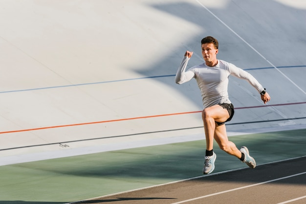 Long shot of athlete running