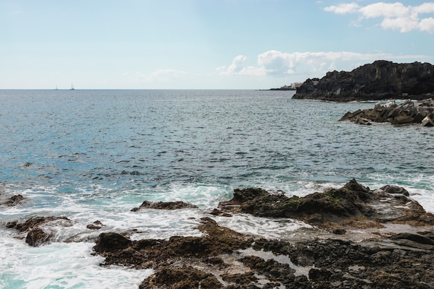 Long shot cliffed coast with crystalline water