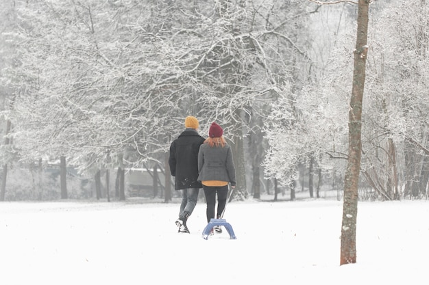 Long shot of couple walking with sleigh