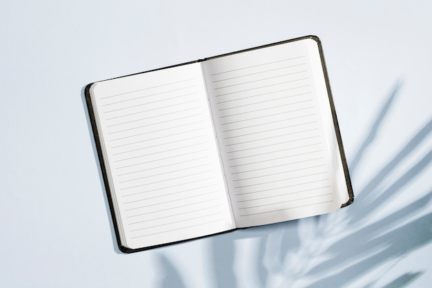 Long shot of empty notepad with leaves shadow