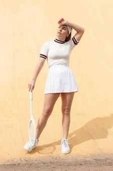 Long shot female tennis player