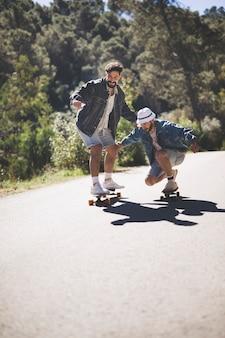 Long shot of friends skateboarding