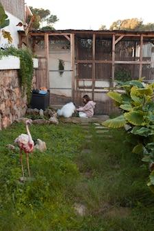 Campo lungo della ragazza che gioca con il suo cucciolo