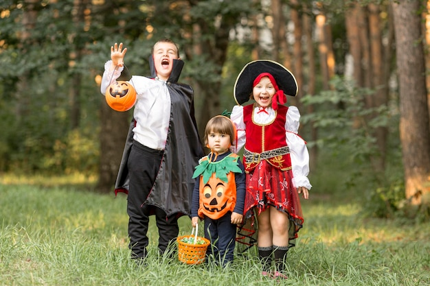 Long shot of kids with halloween costumes