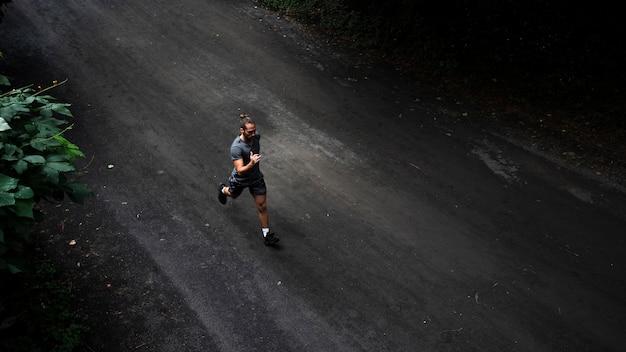 Long shot of man running