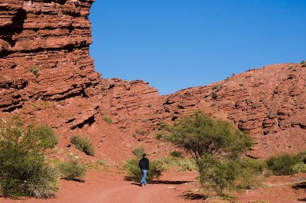 Long shot man walking  in desert