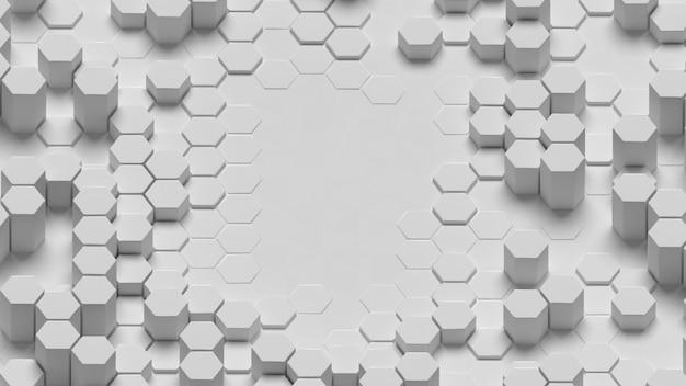 3dハニカムコピースペース白い背景のロングショット