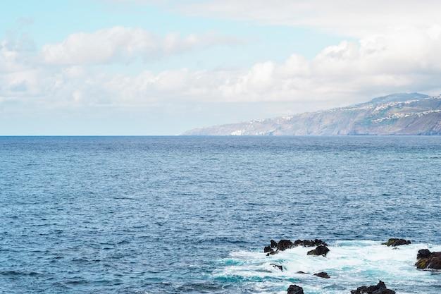 Long shot of rocky coast line of island