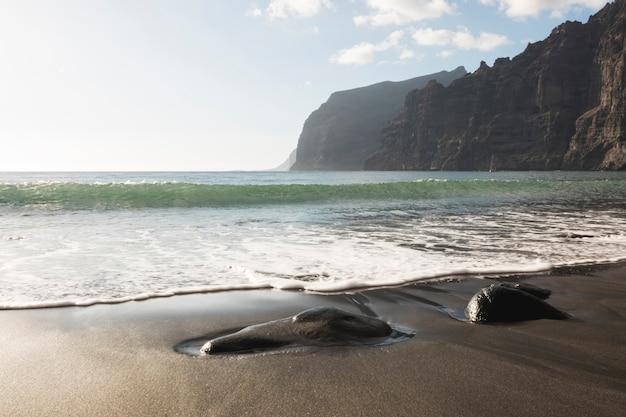 Long shot wild beach coastline