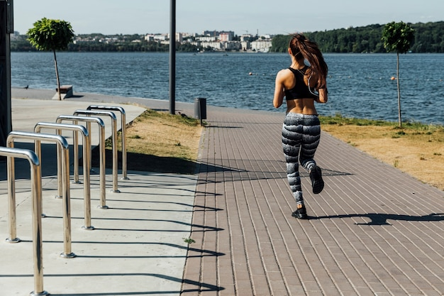 Long shot of woman running
