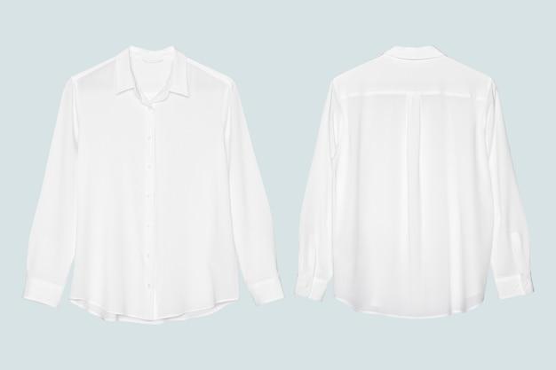 파란색 배경에 전면 및 후면보기와 긴 소매 셔츠