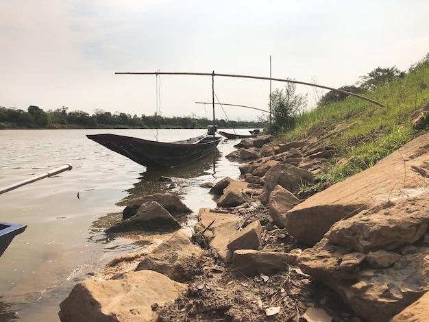 Long tail boat along the mekong river.