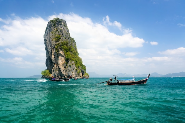 Long tail boat near ao nang ,krabi thailand