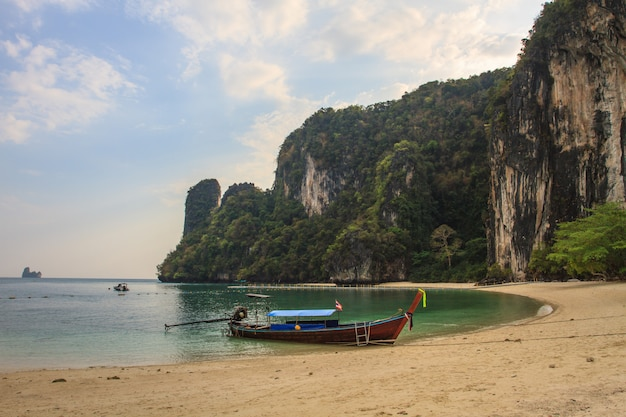 Long tail boats on the coast of andaman sea in krab,i thailand