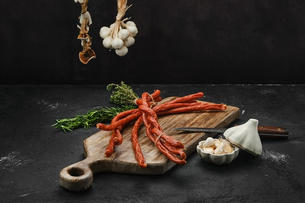 Long thin homemade pork sausages with garlic