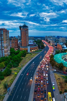 Long traffic congestion on a large highway in the city