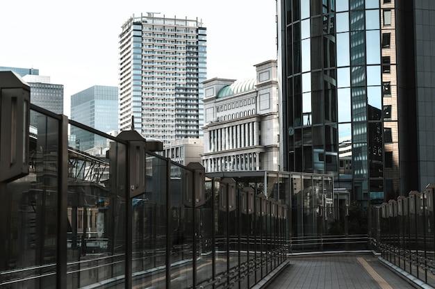 Long view modern skyscrapers office buildings