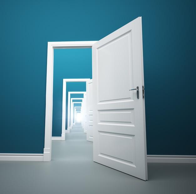 Long way of opened doors