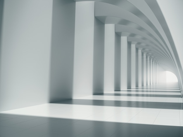 Long white corridor space.