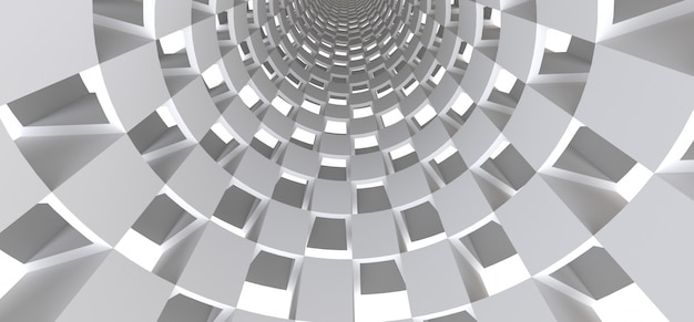 Long white tunnel as an abstract surface