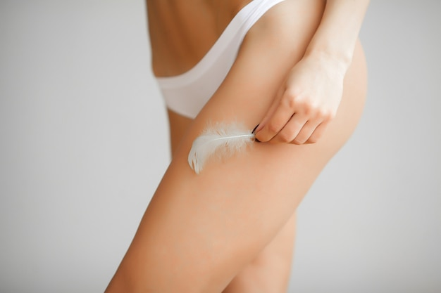Long woman legs with beautiful soft skin. beauty body care