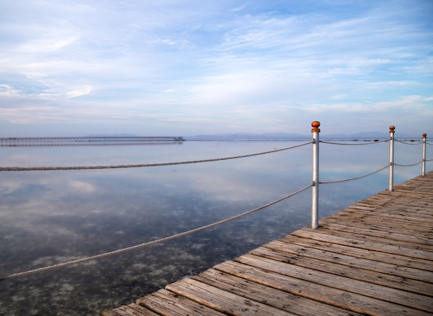 Long wooden pier.