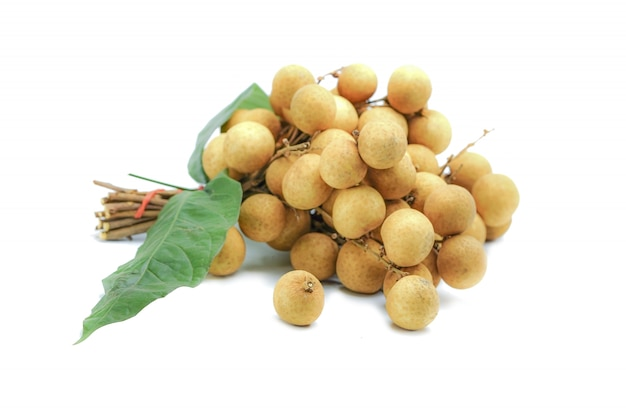 Longan or lamyai , thailand tropical fruits on white background.