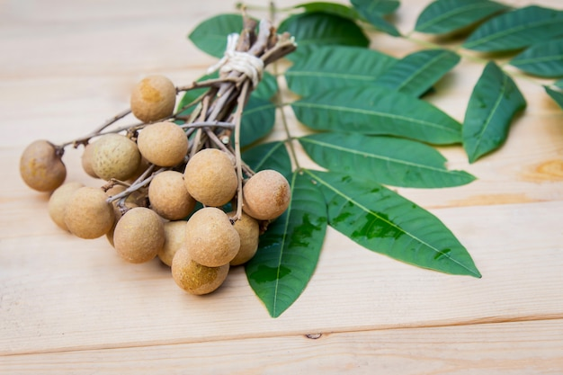 Longan on wooden table for eating in relax time